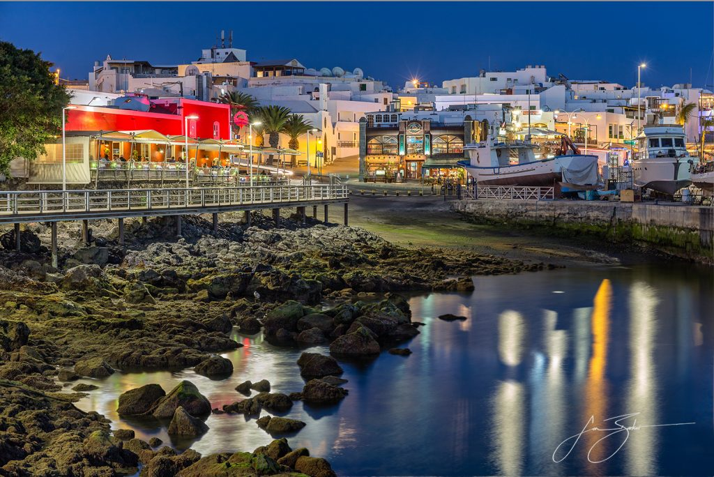Twilight at Puerto Del Carmen Harbour - Lanzarote, Spain by Jon Barker